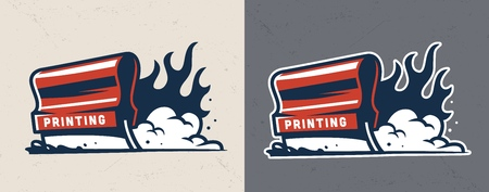 Vintage serigraphy colorful concept with flaming industrial squeegee for screen printing isolated vector illustration