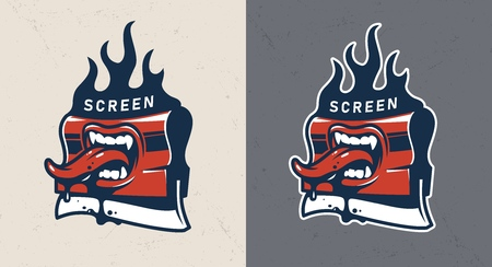 Vintage screen printing squeegee with open mouth teeth and sticking out tongue isolated vector illustration
