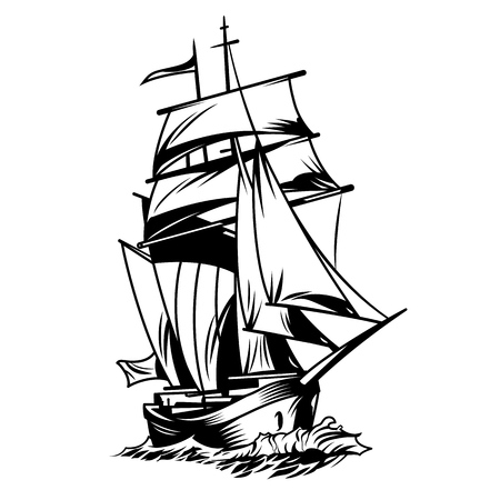 Vintage monochrome sea ship concept isolated vector illustration