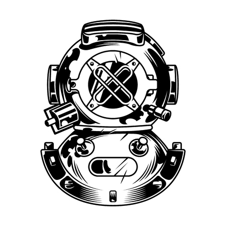 Vintage diving helmet concept in monochrome style isolated vector illustration Çizim