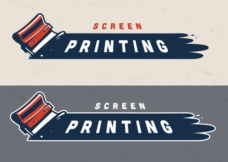 Colorful screen printing concept with industrial squeegee in vintage style isolated vector illustration