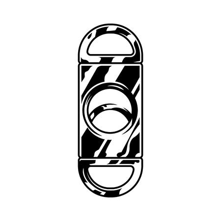 Guillotine à cigares en métal monochrome en illustration vectorielle isolée de style vintage