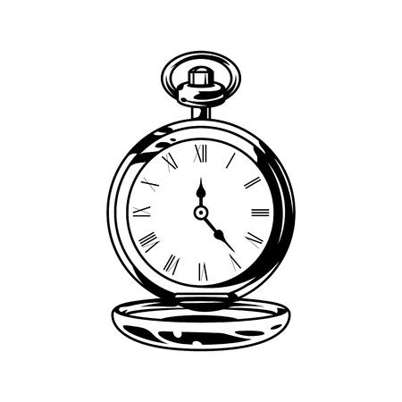 Relojes de bolsillo retro monocromáticos en estilo vintage aislado ilustración vectorial
