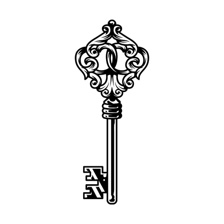 Vintage monochrome antique metal key template isolated vector illustration