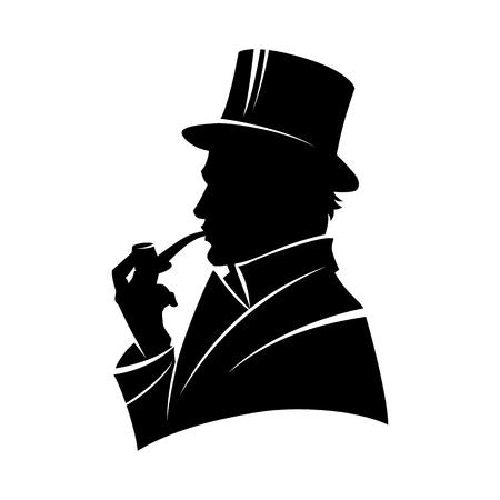 Vintage monochromatyczne dżentelmen sylwetka w cylindrze palenia fajka na białym tle ilustracji wektorowych Ilustracje wektorowe