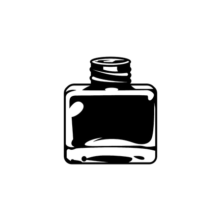 Vintage inkwell or ink bottle concept in monochrome style isolated vector illustration