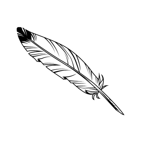 Vintage monochrome feather pen with ink on white background isolated vector illustration