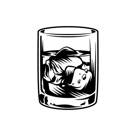 Vintage monochrome glass of whiskey with ice cubes isolated vector illustration