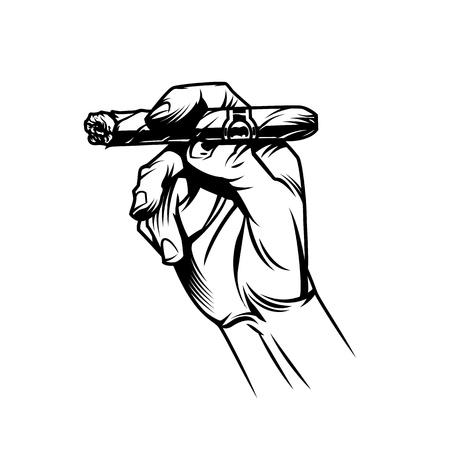 Männliche Hand, die brennende kubanische Zigarre im Vintage-Monochrom-Stil hält, isolierte Vektorillustration