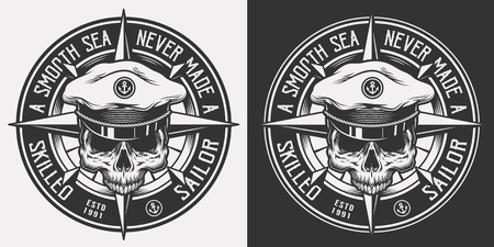 Vintage nautical monochrome emblem with skull in sea captain hat and inscriptions isolated vector illustration