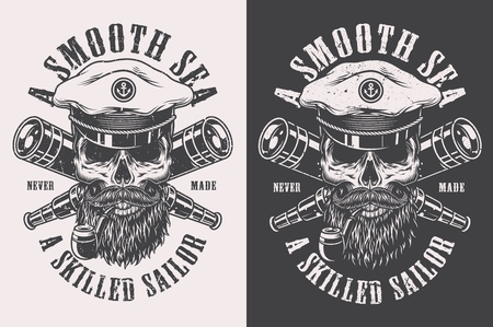 Vintage monochrome sailing label with sea captain skull in hat smoking pipe and crossed spyglasses isolated vector illustration Ilustrace
