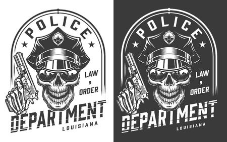 Vintage policeman emblem concept with skull in police hat and skeleton hand holding pistol isolated vector illustration