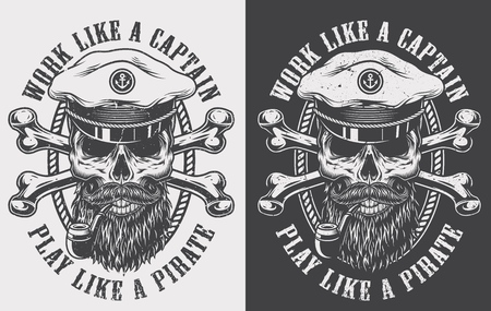 Vintage monochrome nautical print with crossed bones and sea captain bearded and mustached skull in hat smoking pipe isolated vector illustration