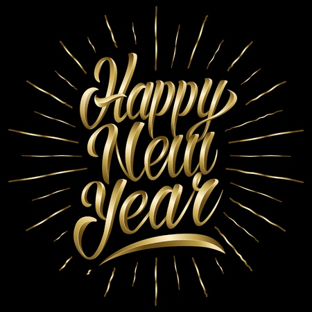Happy new year lettering in metal style. Vector illustration.