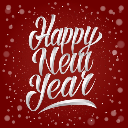 Happy new year lettering in silver metal style. Vector illustration.