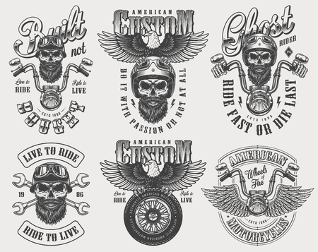 Vintage biker and motorcyclist set with motorcycle driver skulls in helmet steering wheel tire crossed wrenches eagle isolated vector illustration  イラスト・ベクター素材