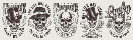 Vintage Glücksspiel-Etiketten mit Gangsterschädeln in Fedora und Zylinderhüten krönen Pfeifen-Rosen-Spielkarten isolierte Vektorillustration