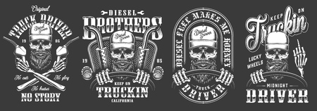 Vintage monochrome truck driver labels set with trucker skull holding steering wheel and fuel pump isolated vector illustration Illustration