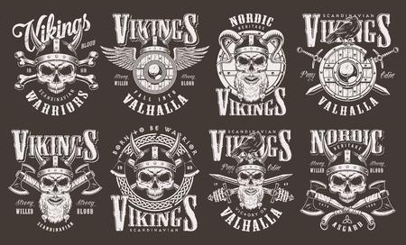 Colección de emblemas vikingos vintage con inscripciones cráneos bárbaros en casco escudo de madera alado ejes cruzados espadas huesos aislados ilustración vectorial