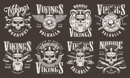 Vintage viking emblems collection with inscriptions barbarian skulls in helmet winged wooden shield crossed axes swords bones isolated vector illustration