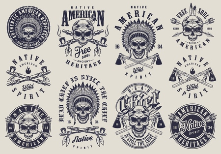 Vintage native american indians labels set with skull in feather headwear crossed smoking pipes arrows tomahawks isolated vector illustration Illustration