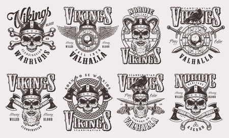 Vintage monochrome viking labels set with warrior skulls in helmet winged shield swords axes bones isolated vector illustration