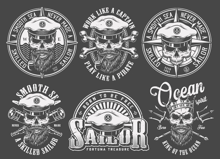 Vintage monochrome sailing and marine emblems with skulls in sea captain hat crown sailor cap neptune trident spyglasses isolated vector illustration Illustration