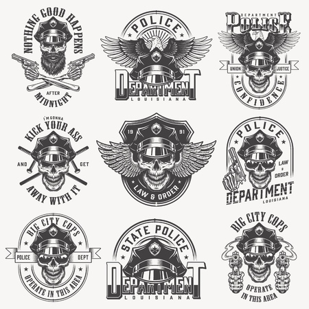 Vintage monochrome police labels set with skulls in policeman hat eagle wings pistols crossed batons isolated vector illustration