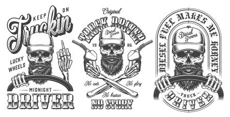 Colección de emblemas de camionero monocromo vintage con calaveras de conductor de camión sosteniendo bombas de combustible en el volante y mostrando el dedo medio aislado ilustración vectorial