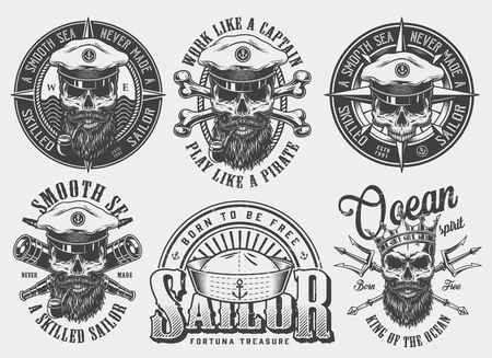 Vintage monochrome nautical labels set with inscriptions skulls in sea captain hat crown crossed bones spyglasses poseidon tridents isolated vector illustration Illustration