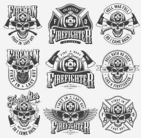 Set di etichette antincendio monocromatiche vintage con iscrizioni teschi in elmo pompiere ali d'aquila assi incrociate ossa illustrazione vettoriale Vettoriali