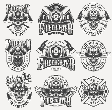 Vintage monochrome firefighting labels set with inscriptions skulls in fireman helmet eagle wings crossed axes bones isolated vector illustration Ilustrace