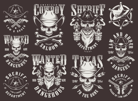 Vintage wild west set with cowboy and sheriff skulls badge guns arrows bones inscriptions in monochrome style isolated vector illustration Vettoriali
