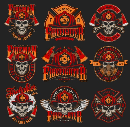 Vintage firefighting colorful emblems set with skulls wearing fireman helmet gas mask eagle wings axes on dark background isolated vector illustration Çizim