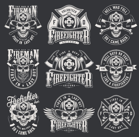 Vintage firefighter collection with skulls in fireman helmet crossed axes bones letterings in monochrome style isolated vector illustration