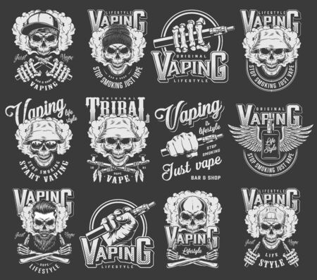 Vintage vaping collection with skulls wearing hipster hats baseball cap crossed smoking pipes winged vaporizer electronic cigarettes isolated vector illustration