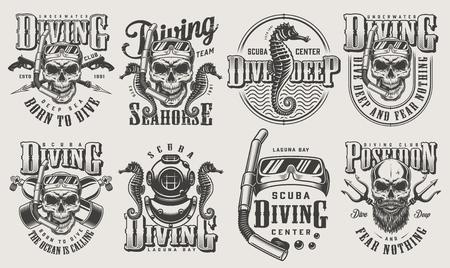 Vintage monochrome diving set with skull in scuba mask snorkel oxygen balloons spear gun diver helmet poseidon trident seahorse isolated vector illustration Illustration