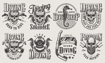 Vintage monochrome diving set with skull in scuba mask snorkel oxygen balloons spear gun diver helmet poseidon trident seahorse isolated vector illustration
