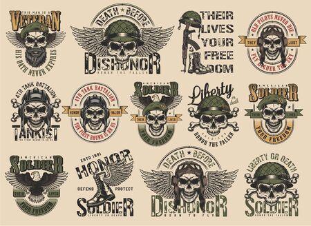 Set di etichette militari colorate vintage con pilota soldato tankman navy seal teschi iscrizioni aquila stivali arma illustrazione vettoriale isolato