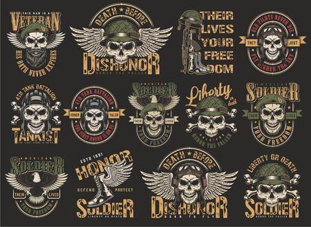 Vintage bunte Militärembleme mit Schädeln in Pilot Tankman Soldat Marine Seal Helme Adlerflügel Stiefel Waffenknochen isolierte Vektorillustration