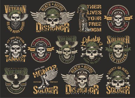 Vintage colorful military emblems set with skulls in pilot tankman soldier navy seal helmets eagle wings boots weapon bones isolated vector illustration Ilustrace