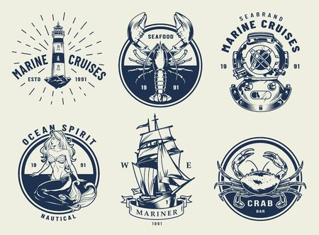 Vintage monochrome nautical emblems set with inscriptions lighthouse crab lobster diving helmet ship mermaid isolated vector illustration
