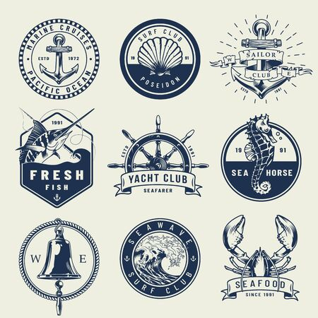 Vintage monochrome nautical emblems with anchor seahorse seashell swordfish ship wheel bell sea wave lobster isolated vector illustration