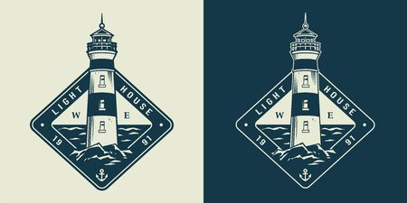 Vintage monochrome sea and nautical label with lighthouse isolated vector illustration