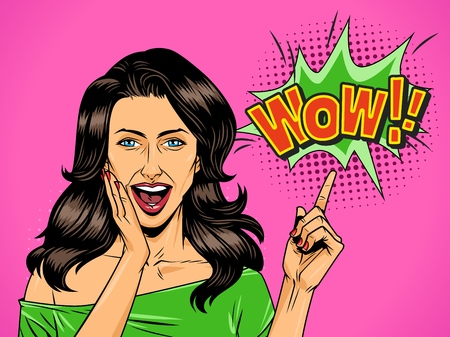 Comic attractive wonder girl with open mouth pointing at Wow wording vector illustration