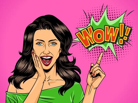 Komisches attraktives Wundermädchen mit offenem Mund, der auf Wow-Wortlautvektorillustration zeigt