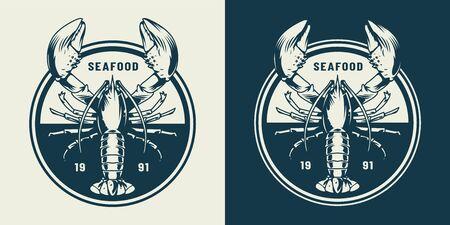Emblème rond vintage sealife avec homard en illustration vectorielle isolée de style monochrome Vecteurs
