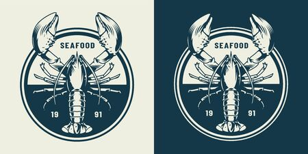 Vintage sealife round emblem with lobster in monochrome style isolated vector illustration