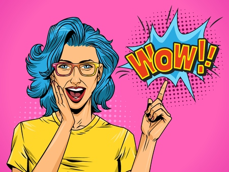 Pop art beautiful surprised woman with blue hair pointing at speech bubble with Wow comic wording vector illustration Ilustrace