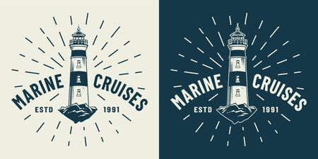 Vintage marine cruise with lighthouse in monochrome style isolated vector illustration Ilustração